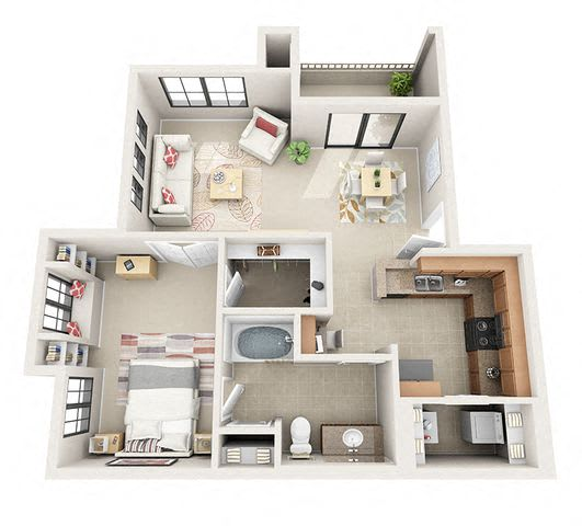 Floor Plan  The Arbor One Bedroom One Bathroom Apartment