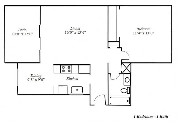 Floor Plan  One Bedroom Floorplan at Sedona Apartment Homes