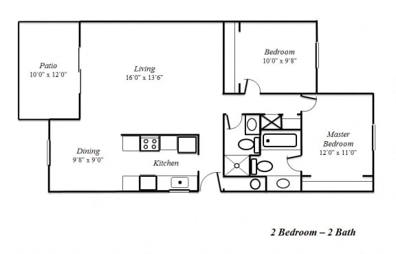 Floor Plan  Two Bedroom-Two Bath Floorplan at Sedona Apartments, CA