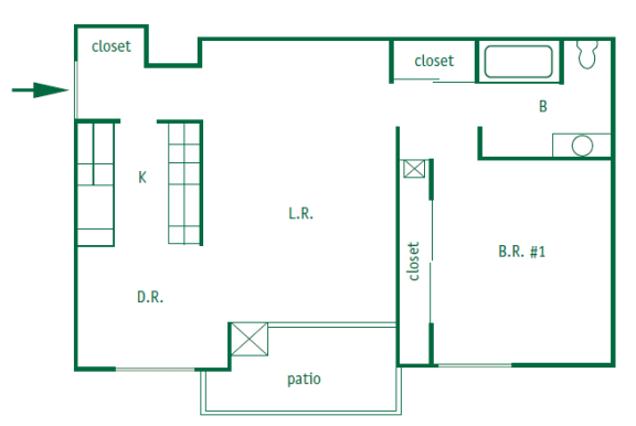 Floor Plan  One bedroom, one bathroom upstairs and downstairs apartments are 771 square feet. They have a patio or a balcony with a galley style kitchen. The upstairs apartment has vaulted ceilings.
