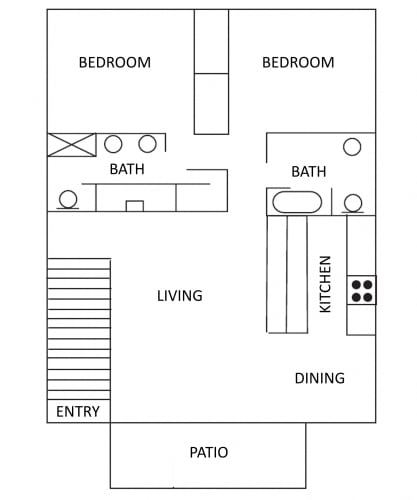 Floor Plan  2 bedroom 2 bathroom apartment with an indoor stairwell at the entrance is 1200 square feet. A galley kitchen with living and dining area with an outdoor patio.