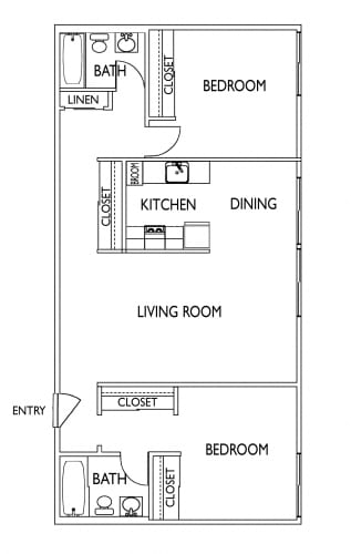Floor Plan  2 Bedroom / 2 Bath