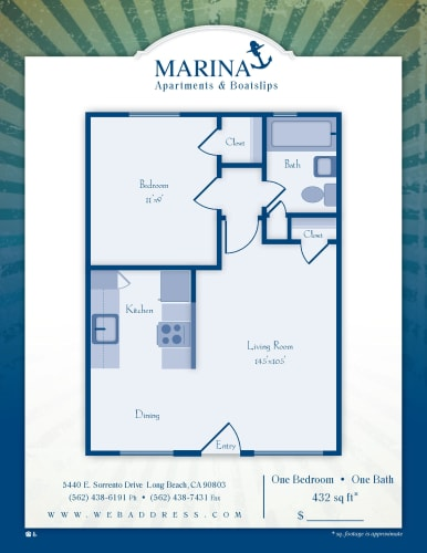 Floor Plan  One Bedroom/ One Bath