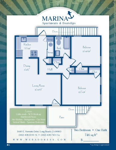 Floor Plan  Two Bedroom/ One Bath