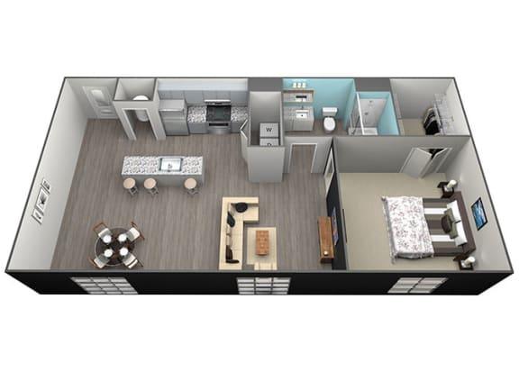 Floor Plan  1Bed 1Bath Tower Grove Apartments - A1 Floorplan at Aventura at Forest Park, St.Louis, Missouri
