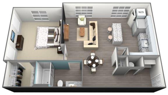 Floor Plan  1Bedroom 1Bath - A2 Floorplan at Aventura at Forest Park, St.Louis, MO, 63110