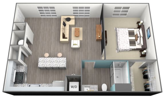 Floor Plan  1Bed 1Bath A4 Floorplan at Aventura at Forest Park, St.Louis, MO