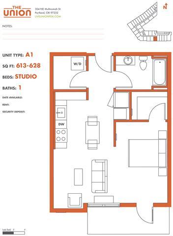 Floor Plan  The Union Portland OR Studio Sq Ft 574 Unit A1-2