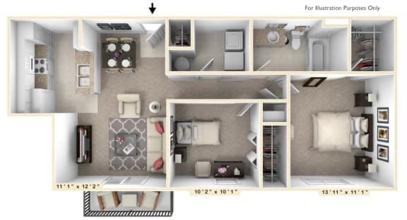 Floor Plan  The Ambassador - 2 BR 1 BA Floor Plan at Alexandria of Carmel Apartments, Carmel, IN