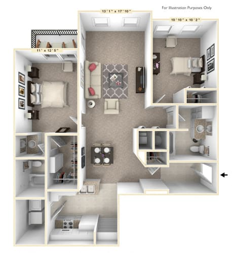 Floor Plan  The Capital - 2 BR 2 BA Floor Plan at Alexandria of Carmel Apartments, Carmel, 46032