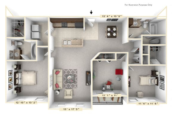 Floor Plan  The Commander - 3 BR 2 BA Floor Plan at Alexandria of Carmel Apartments, Carmel, 46032