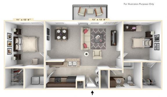 Floor Plan  The Congressional - 2 BR 1 BA Floor Plan at Alexandria of Carmel Apartments, Indiana, 46032