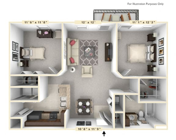 Floor Plan  The Constitution - 2 BR 1 BA Floor Plan at Alexandria of Carmel Apartments, Indiana