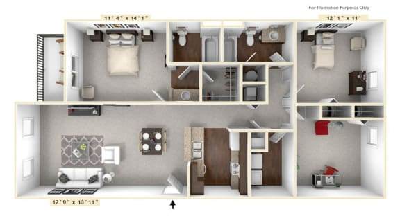 Floor Plan  The Declaration - 3 BR 2 BA Floor Plan at Alexandria of Carmel Apartments, Carmel, Indiana