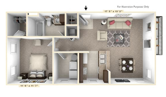 Floor Plan  The Diplomat - 1 BR 1 BA Floor Plan at Alexandria of Carmel Apartments, Carmel