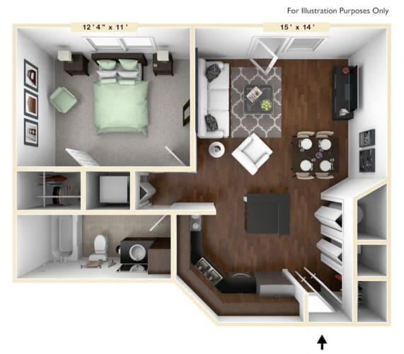 Floor Plan  The Executive - 1 BR 1 BA Floor Plan at Alexandria of Carmel Apartments, Carmel, IN