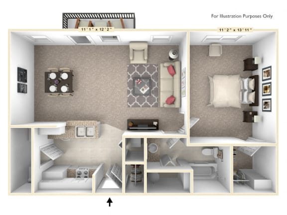 Floor Plan  The Independence - 1 BR 1 BA Floor Plan at Alexandria of Carmel Apartments, Indiana