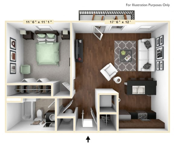 Floor Plan  The Justice - 1 BR 1 BA Floor Plan at Alexandria of Carmel Apartments, Carmel, IN, 46032