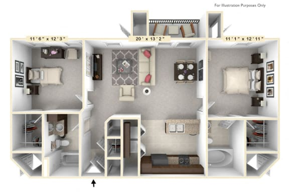 Floor Plan  The Parliament - 2 BR 2 BA Floor Plan at Alexandria of Carmel Apartments, Carmel, IN, 46032