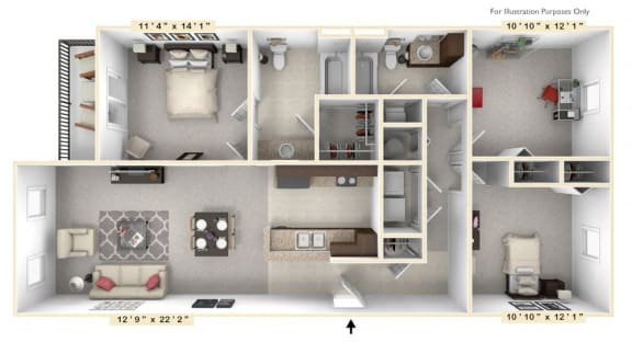 Floor Plan  The Presidential - 3 BR 2 BA Floor Plan at Alexandria of Carmel Apartments, Carmel, Indiana