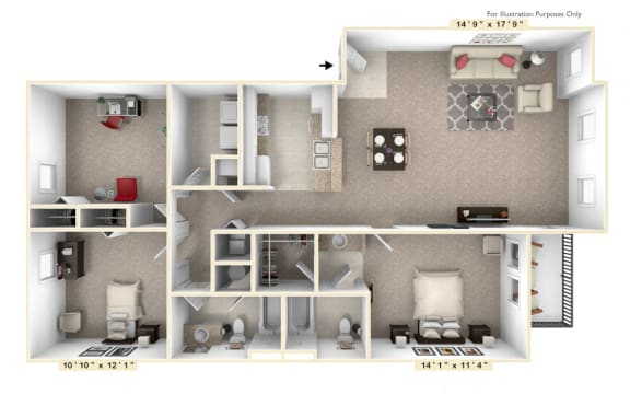 Floor Plan  The Republic - 3 BR 2 BA Floor Plan at Alexandria of Carmel Apartments, Indiana, 46032