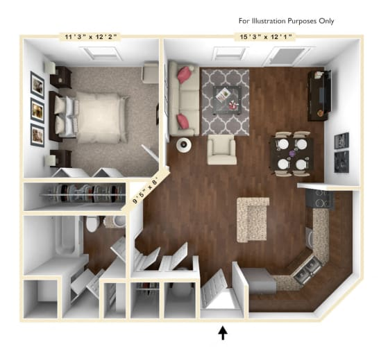 Floor Plan  The Senator - 1 BR 1 BA Floor Plan at Alexandria of Carmel Apartments, Carmel, 46032
