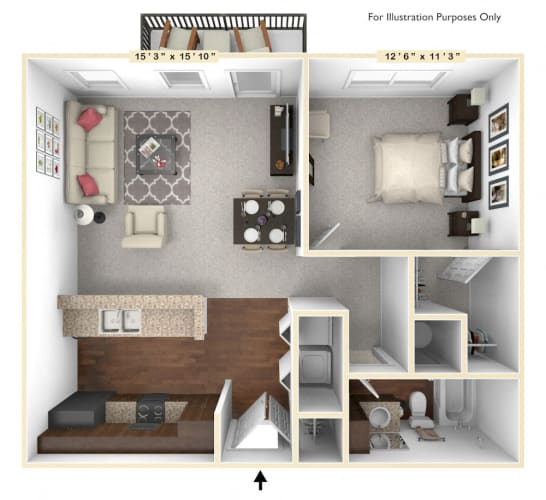 Floor Plan  The Allegiance - 1 BR 1 BA Floor Plan at Alexandria of Carmel Apartments, Carmel, Indiana