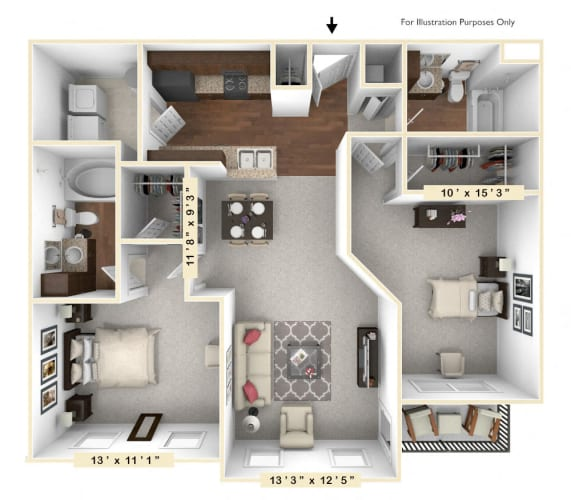 Floor Plan  The Liberty - 2 BR 2 BA Floor Plan at Alexandria of Carmel Apartments, Carmel, IN