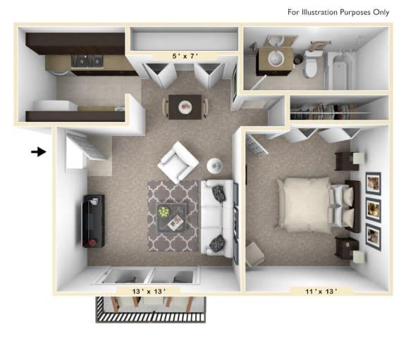 Floor Plan  The Challis - 1 BR 1 BA Floor Plan at Bavarian Village Apartments, Indianapolis