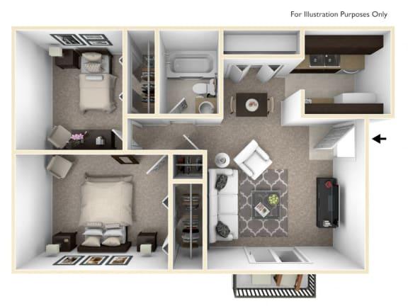 Floor Plan  The Chateau - 2 BR 1 BA Floor Plan at Bavarian Village Apartments, Indianapolis, 46235