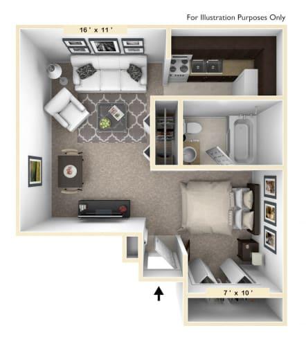 Floor Plan  The Villa Studio Floor Plan at Bavarian Village Apartments, Indianapolis, Indiana