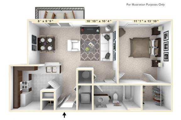 Floor Plan  The Harrison - 1 BR 1 BA Floor Plan at Enclave Apartments, Midlothian, VA