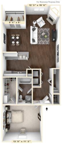 Floor Plan  at Mallard Bay Apartments, Crown Point, Indiana
