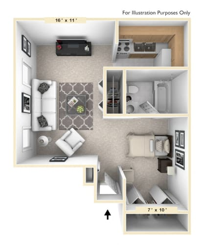 Floor Plan  The Retriever Studio Floor Plan at Pheasant Run, Lafayette