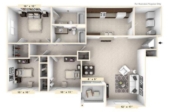 Floor Plan  The Belgian - 3 BR 2 BA Floor Plan at Polo Run Apartments, Greenwood, 46142