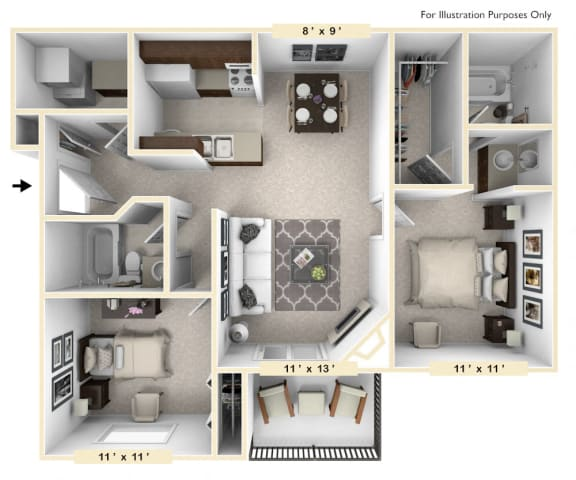 Floor Plan  The Clydesdale - 2 BR 2 BA Floor Plan at Polo Run Apartments, Greenwood, Indiana