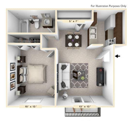 Floor Plan  The Morgan - 1 BR 1 BA Floor Plan at Polo Run Apartments, Indiana, 46142