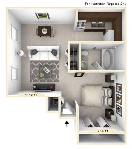 Floor Plan  The Shetland Studio Floor Plan at Polo Run Apartments, Greenwood, IN