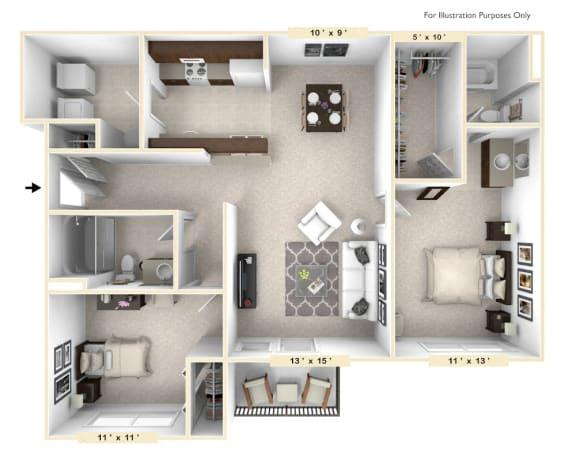 Floor Plan  The Shire - 2 BR 2 BA Floor Plan at Polo Run Apartments, Greenwood, 46142