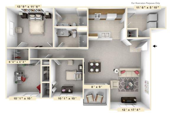 Floor Plan  The Admiral - 3 BR 2 BA Floor Plan at Scarborough Lake Apartments, Indianapolis