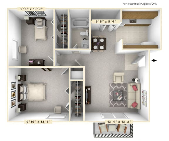Floor Plan  The Anchor - 2 BR 1 BA Floor Plan at Scarborough Lake Apartments, Indianapolis, IN