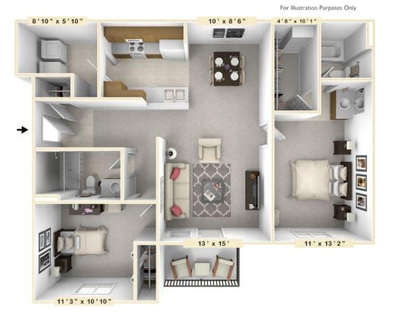 Floor Plan  The Captain - 2 BR 2 BA Floor Plan at Scarborough Lake Apartments, Indianapolis, Indiana