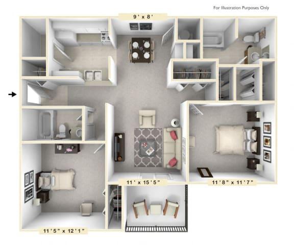 Floor Plan  The Marina - 2 BR 2 BA Floor Plan at Scarborough Lake Apartments, Indianapolis, 46254