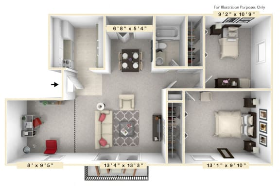 Floor Plan  The Reef - 2 BR 1 BA Floor Plan at Scarborough Lake Apartments, Indiana, 46254