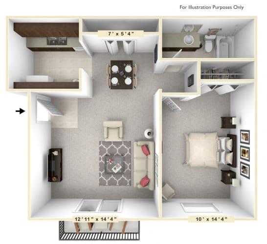 Floor Plan  The Sunrise - 1 BR 1 BA Floor Plan at Scarborough Lake Apartments, Indianapolis