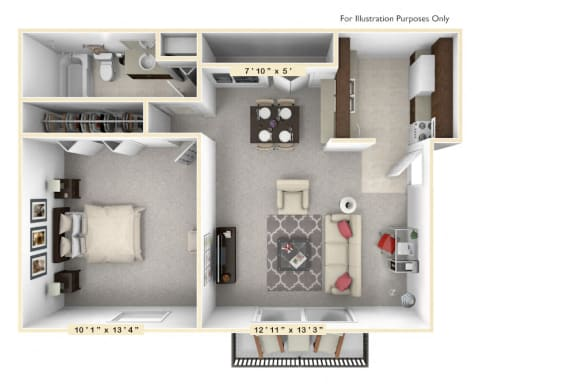 Floor Plan  The Sunset -1 BR 1 BA Floor Plan at Scarborough Lake Apartments, Indianapolis