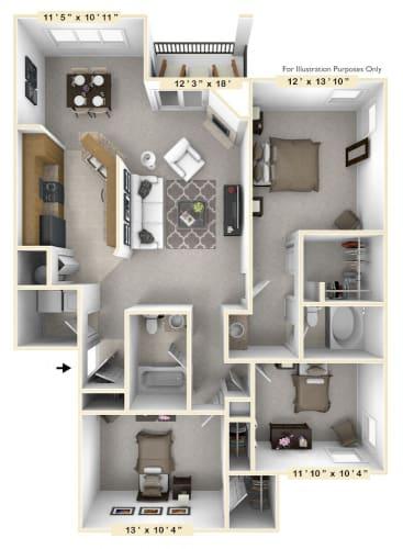 Floor Plan  The Manor - 3 BR 2 BA Floor Plan at The Vinings Apartments, Richmond, VA, 23234