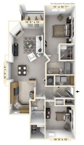 Floor Plan  The Vintage - 2 BR 2 BA Floor Plan at The Vinings Apartments, Virginia
