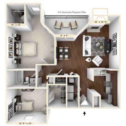 Floor Plan  The Thoroughbred - 2 BR 1 BA Floor Plan at Trophy Club at Bellgrade, Virginia, 23113