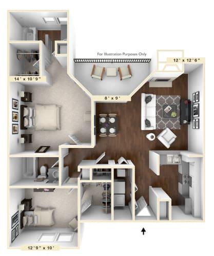 Floor Plan  Triple Crown - 2 BR 2 BA Floor Plan at Trophy Club at Bellgrade, Midlothian